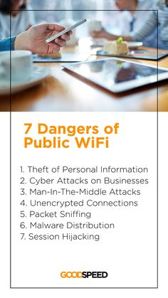 Using the Wi-Fi from a café or an airport might be quite a norm, but do you know there are also alarming risks associated, such as theft of personal information, malware distributed to your device, cyber attacks on your business, etc.? 🌐 💻 Read the lastest Goodspeed blog about the 7 Dangers of Public WiFi, and how to protect yourself from those dangers, especially when you are abroad. Cyber Attack, How To Protect Yourself, Travel Inspiration, Public, Business, Blog, Blogging, Store