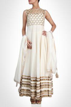 Payal Singhal collection | Anarkali - White Anarkali With Gold Cutwork Crop Jacket