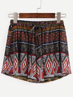 Drawstring Waist Multicolor Random Tribal Print Shorts