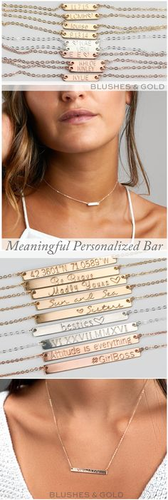 Awesome Personalized Idea! Personalized Bar Necklace, Bar Necklace, Engraved Necklace, Engravable Necklace, Name Plate, Personalized Name Necklace, Custom Name Necklace, Dainty Bar Necklace, Gold Bar Necklace