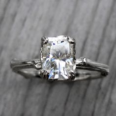 Emerald Moissanite Twig Engagement Ring: White by KristinCoffin --> white or rose gold