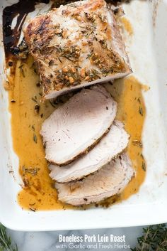 Whether it be for a homey Sunday dinner or a busy weekenight, this Boneless Pork Loin Roast with Garlic and Fresh Herbs never disappoints. With five-ten minutes prep time, a flip of the roast mid way through cooking, and the end result is a reliably tender, succulent roast every time. Other easy pork recipes you'll...