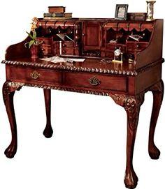 Secretary Desk With Hutch, Secretary Desks, Desk With Drawers, Hardwood Table, Hardwood Furniture, Antique Furniture, Reproduction Furniture, Victorian Furniture, Luxury Furniture