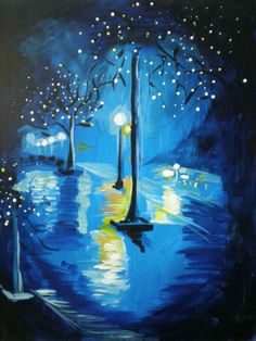 Nighttime City Street Red Blue Abstract Painting Landscape