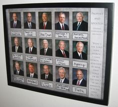 General Conference Review board... pictures of the apostles, write their topic, then review in the months to come. Free printable found http://www.simplyfreshdesigns.com/2011/03/first-presidency-and-twelve-apostles-print/