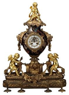 A 19th Century French Ormolu Bronze and Porcelain Clock