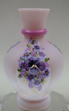 Fenton Vase ROSALENE SATIN Pansy & Wildflower Collage OOAK FREEusaSH | eBay Fenton Glassware, Hand Painted Plates, Hand Painted Wine Glasses, Purple Glass, Pottery Painting, Carnival Glass, Bottle Art, Perfume, Antique Glass