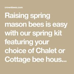 Raising spring mason bees is easy with our spring kit featuring your choice of Chalet or Cottage bee house. Includes reusable wood nesting trays, accessories and mason bee cocoons. Designed for gardeners seeking to boost springtime pollination.