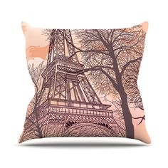 "Sam Posnick ""Eiffel Tower"" Outdoor Throw Pillow, 18"" x 18"" - Outlet Item"