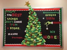 23 Super-simple Christmas Decorations to Upgrade Your Office - Hot Chocolate İdeas Grinch Bulletin Board, Christmas Bulletin Boards, Winter Bulletin Boards, December Bulletin Boards, Office Xmas Decorations, Christmas Door Decorations, Holiday Decor, Desk Decorations, Office Xmas Party