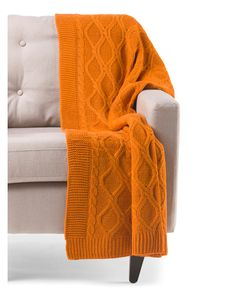 Broyhill Cable Knit Throw Cozy Blanket 50 by 60 Inch Couch Throws (Orange)