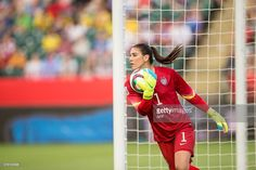 USA goalkeeper Hope Solo makes a save during the United States' 2-0 win over Colombia in their FIFA Women's World Cup Group of 16 Match at Commonwealth Stadium in Edmonton, Canada on June 22, 2015. AFP PHOTO/GEOFF ROBINS