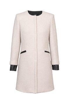 Abrigo gris claro de lana rizada de KV34