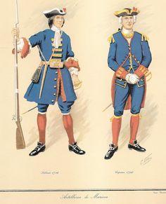 C. Urbez, Artillería de Marina; soldado 1746, capitán 1796, respectivamente.