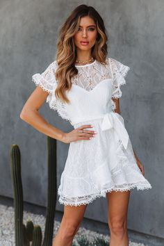 Shoes That Look Amazing With a White Dress How To Dress For A Wedding, V Neck Wedding Dress, Wedding Dresses, Lace Dresses, Mini Dresses, Short Dresses, Formal Dresses, White Mini Dress, White Lace