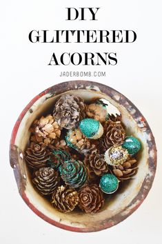DIY Glittered acorns and pinecones by MichaelsMakers Jaderbomb