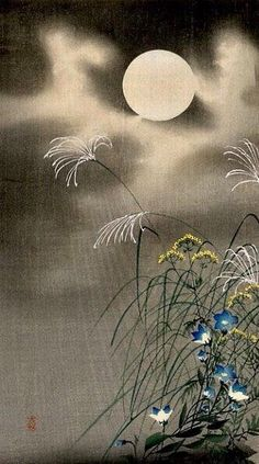Ohara Koson 小原 古邨 - Moon and the blue flowers