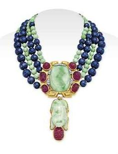 A JADEITE, DIAMOND AND MULTI-GEM PENDANT NECKLACE, BY DAVID WEBB, Christie's Magnificent Jewels - Dec. 10, 2014