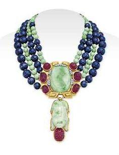 A JADEITE, DIAMOND AND MULTI-GEM PENDANT NECKLACE, BY DAVID WEBB   JEWELRY Auction   Jewelry, necklace   Christie's