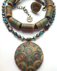 Pendant and beads, imitation metal, polymer clay jewerly