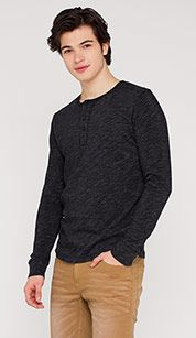 Henley-shirt in mélange-optiek in zwart mix