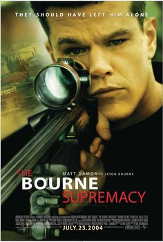 The Bourne Supremacy is a 2004 American-German action spy thriller film starring Robert Ludlum's Jason Bourne character. Though it takes the name of the second Bourne novel, its plot is entirely different. The film was directed by Paul Greengrass from a screenplay by Tony Gilroy. https://en.wikipedia.org/wiki/The_Bourne_Supremacy_(film) (fr=La Mort dans la peau)