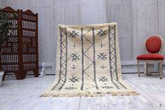4x6 African moroccan Beni ourain rug, Carpet Vintage Soft Beni Ourain Moroccan Handmade Ivory Wool Rug berber teppish Persian, Berber rug
