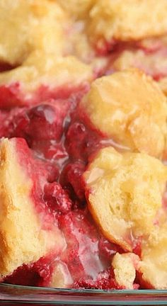 The best way I can describe this raspberry bread pudding is like a homemade glazed donut with raspberry filling. If you're into that kinda thing–which, really, who isn't–this dessert will knock your socks off! It's A-Mazing. Yield- One inch pan Raspberry Recipes, Fruit Recipes, Desert Recipes, Sweet Recipes, Raspberry Filling, Cooking Recipes, Frozen Desserts, Just Desserts, Cake