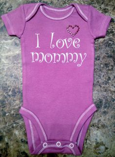 Unique Baby Girl Onesie in Purple WithI Love by LoveUniqueBaby, $14.00