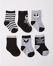 Nightmare Before Christmas Baby Socks 6 Pack - Spencer& Goth Baby Clothes, Baby Sock Bouquet, Gothic Baby, Kids Stockings, Christmas Baby Shower, Baby Socks, Fun Socks, Kids Socks, Baby Halloween
