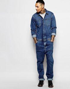 Asos mens boiler suit in medium blue.