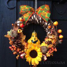 Kränze - #Türkranz #Herbstkranz #Halloween #Kranz #Herbst - ein Designerstück von TATIANAsArt bei DaWanda