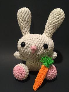 Spring Bunny Rabbit Rubber Band Figure, Rainbow Loom Loomigurumi, Rainbow Loom…                                                                                                                                                                                 More