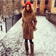 camel coat with fur