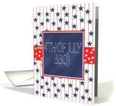 4th of July BBQ invitation - stars on blue chalkboard look card