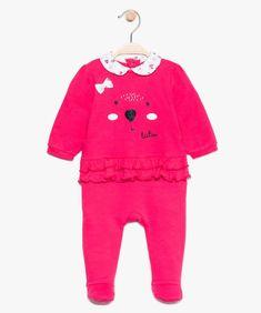 85a0d14d74884 Pyjama bébé fille à volants et col claudine - Lulu Castagnette Rose