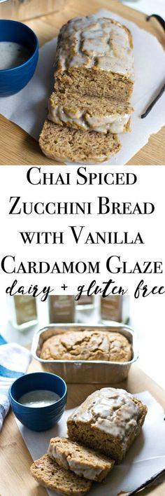 Chai Spiced Zucchini Bread with Cardamom + Vanilla Bean Glaze {dairy + gluten free} w/ @LacyMilkfree & @simplyorganic
