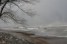 Winter,Waves,Central,Beach,Indiana,Dunes,National,Lakeshore