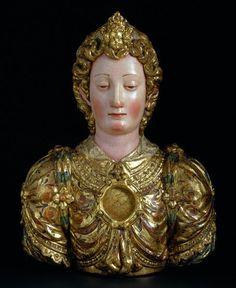 "motifs floraux sur feuille d'or - Reliquary Bust of a Young Woman Ca1500 Spain. 21.26""H."
