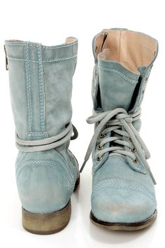 Steve Madden Troopa Blue Leather Lace-Up Combat Boots . kinda like these. Hate Steve Madden, but darn these boots Lace Up Combat Boots, Knee High Boots, Ankle Boots, Denim Boots, Laced Boots, Fashion Belts, Fashion Shoes, Boot Over The Knee, Cute Shoes