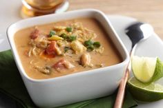AE Chicken Enchilada Soup is a tasty and satisfying alternative to chili. Keep it warm in a slow cooker to enjoy throughout game-day gatherings.