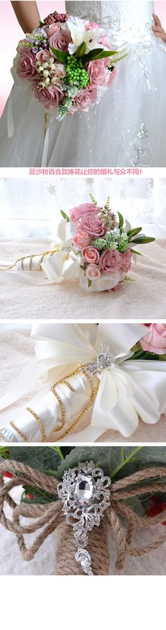 Beautiful Wedding Bouquet Assorted Roses Lily bouquet wedding accessories Artifical Wedding flowers Bride Bouquet FE15-in Wedding Bouquets from Weddings & Events on Aliexpress.com | Alibaba Group