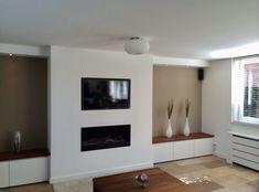 Custom made interieur - Stucro Living Room White, Living Room Paint, New Living Room, Small Living Rooms, Living Room Decor, Fireplace Tv Wall, Fireplace Remodel, Modern Fireplace, Living Room With Fireplace