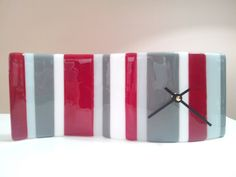 Sea Lamb Contemporary Fused Glass  http://www.etsy.com/listing/159937203/scarlet-gray-and-white-fused-glass-clock