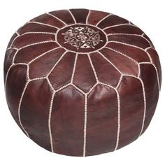 Handcrafted Moroccan Leather Pouf Ottoman (Morocco) Free Shipping... ($223) ❤ liked on Polyvore featuring home, furniture, ottomans, moroccan leather ottoman, leather ottoman, handcrafted furniture, hand crafted furniture and handmade furniture