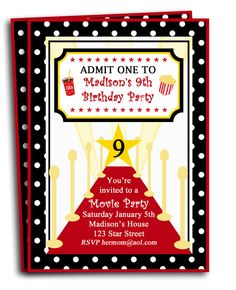 Items Similar To Red Carpet Party Invitation Printable Or Printed With FREE SHIPPING Lights Camera Star Collection On Etsy