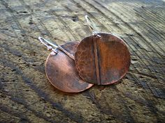 Folded Copper and Sterling Silver Earrings by BalsamrootRanch.com     $49.00