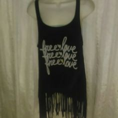 "LOVEBYRD FRINGED TANK TOP-SIZE L -Lovebird Fringed Tank Top -Size Large -Says ""Free?Love on the front -Really Cute -As shown in 4th picture, there's a tiny hole in back on the sleeve. Not even noticeable. -95% Rayon, 5% Elastane Lovebyrd Tops Tank Tops"