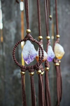 Stone Dream Catcher, Amethyst Leather Necklace