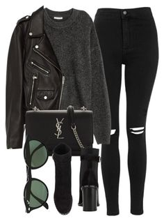 """""""Untitled #6951"""" by laurenmboot ❤ liked on Polyvore featuring Topshop, Jakke, Yves Saint Laurent, rag & bone and Ray-Ban"""